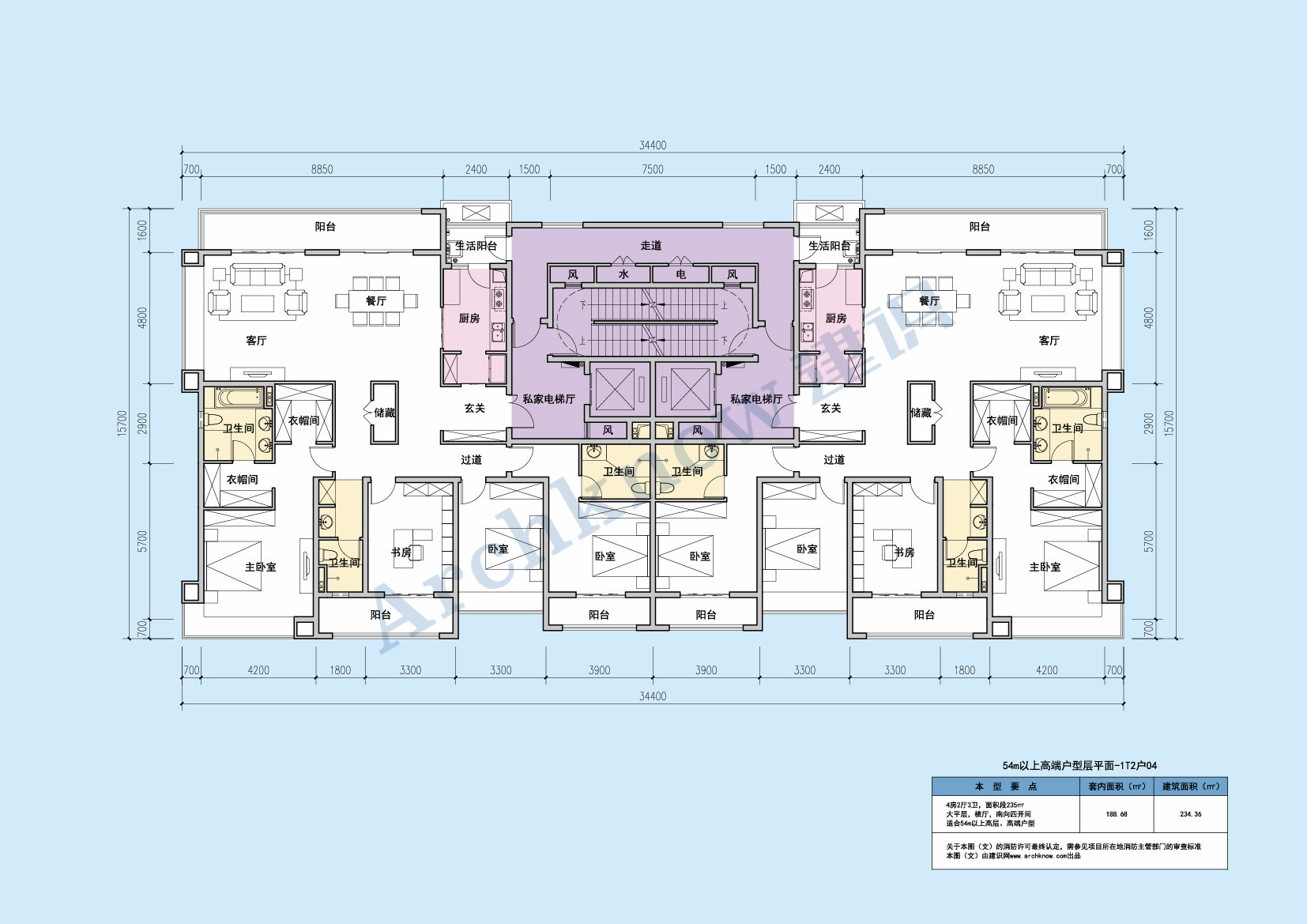 消防控制室设计规范_54m以上高端户型层平面-1T2户04 - 建识网_大家的建筑设计资源平台 ...